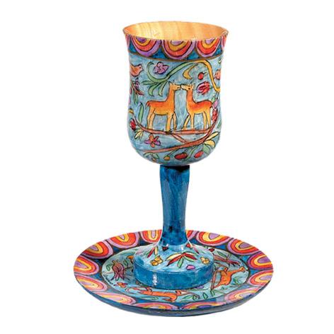 גביע קידוש גדול כולל צלחת ציור עבודת יד על עץ EMANUEL במגוון דגמים לבחירה - תמונה 2