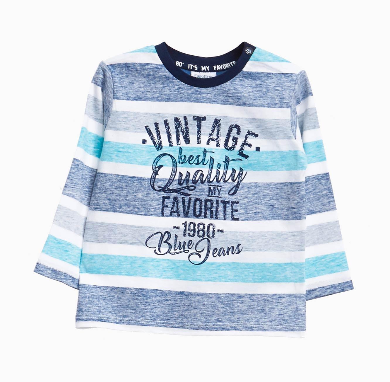 חולצת טי ארוכה OVS לתינוקות וילדים - כחול ולבן עם הדפס