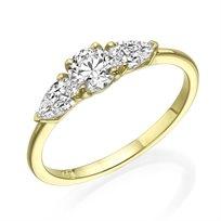 """טבעת יהלום """"טיפה 3 יהלומים"""" 0.77 קראט זהב צהוב"""