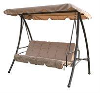 נדנדה מרופדת לגינה בעלת 4 מושבים נפתחת למיטה עשויה בד עם שלדת מתכת CAMPTOWN - משלוח חינם
