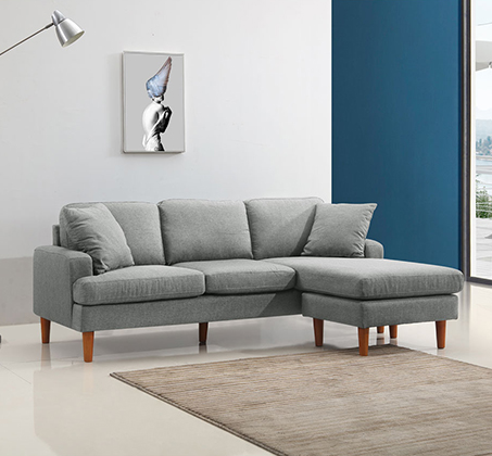 סלון פינתי עשוי שלדת עץ מלא מבד מיקרופייבר דגם URBAN עם מושבים והדום הניתנים להחלפה - תמונה 2