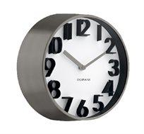 שעון קיר בעל מסגרת כרום וספרות תלת ממד