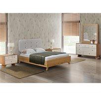 סט ריהוט לחדר השינה עם מיטה שידות ומראה דגם גל