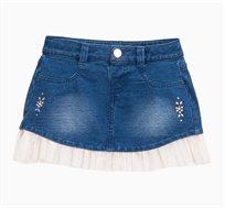 חצאית ג'ינס לתינוקות וילדות עם טול קפלים