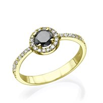 """טבעת אירוסין """"מיה יהלום שחור"""" 0.75 קראט"""