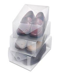 קופסאות אחסון שקופות לנעלי גברים - סט של 3