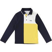 BOSS / בוס חולצת פולו שרוול ארוך (מידה 16) - כחול צהוב