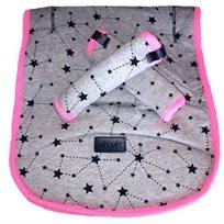 Baby Mitmit סט מפנק לעגלה- ריפודית וחבקים אפור ורוד Galaxy Collection
