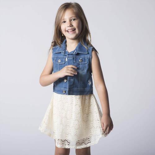 Us Polo יו אס פולו (12-1 שנים) שמלה תחרה שמנת עם ג'קט ג'ינס