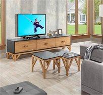 סט לסלון הכולל מזנון ושני שולחנות עם רגליים מעץ מלא