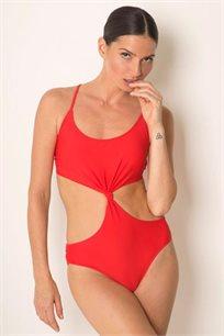 בגד ים שלם בגזרת קאט אאוט עם פתחים במותניים ורצועות קשירה בגב בצבע אדום