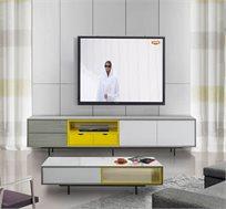 מערכת סלונית בעיצוב מודרני הכוללת מזנון טלוויזיה ושולחן קפה