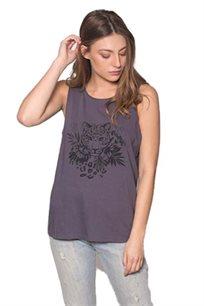 גופייה לנשים זוהרה Tiger Lily בצבע אפור כהה עם הדפס של נמר ופרחים בצבע שחור