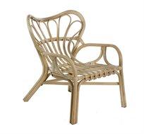 כורסא מעוצבת במראה כפרי דגם מנאלי ביתילי עשויה מראטן בגוון טבעי  + הדום מתנה