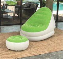 כורסא מתנפחת בעלת מבנה חזק, גמיש ונוח הכוללת הדום תואם