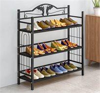 מעמד לאחסון נעליים עשוי מתכת בעל שלוש קומות