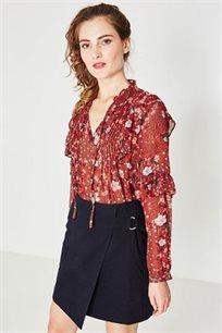 חצאית מעטפת קצרה PROMOD לנשים - צבע נייבי