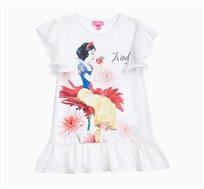 חולצה קצרה לילדות בצבע לבן עם הדפס שלגיה והתפוח