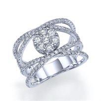 """טבעת אירוסין זהב לבן """"קלאודיה"""" 1.72 קראט בעיצוב ייחודי ונוצץ"""