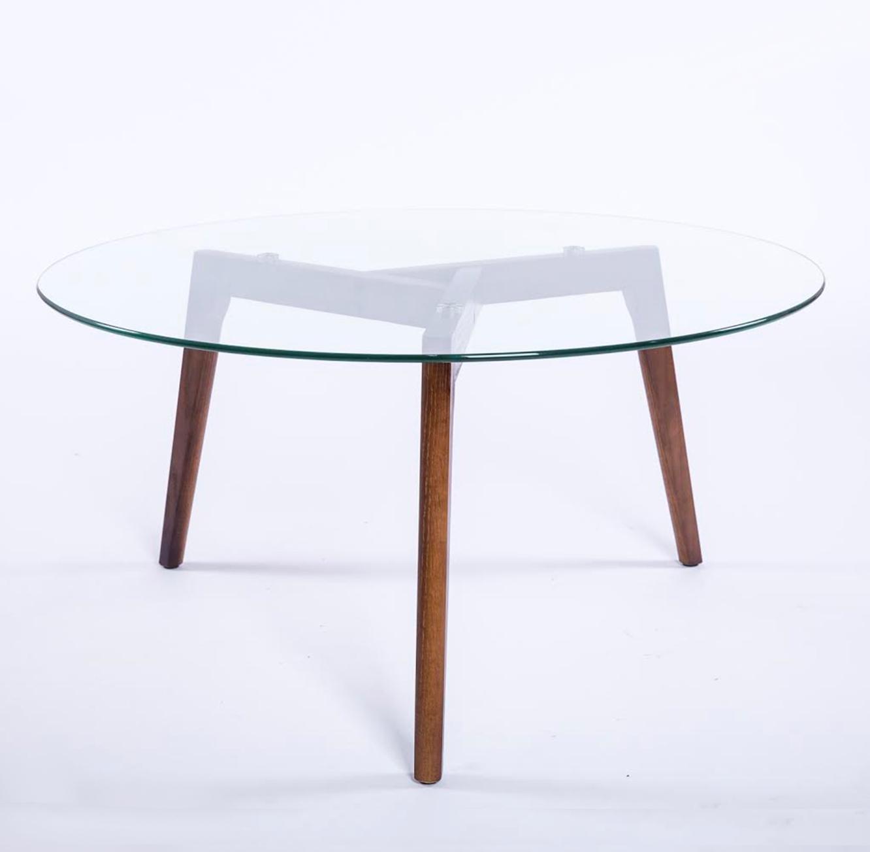 שולחן קפה עגול לסלון בעיצוב מודרני עשוי זכוכית בשילוב עץ - תמונה 2