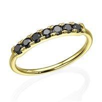 טבעת זהב צהוב בשיבוץ 7 יהלומים במשקל 0.40 קראט