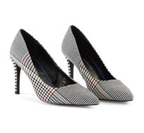 נעלי עקב Prince-of-Wales פפיטה לנשים בצבע שחור מודפס