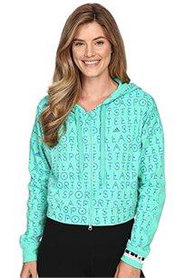 קפוצ'ון מודפס Adidas STELLA SPORTS לאישה - ירוק בהיר/כחול