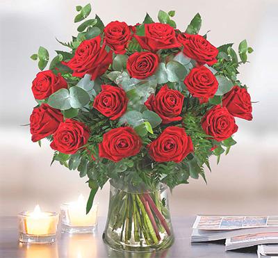זר הרומנטי - ורדים אדומים