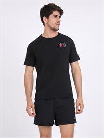Champion גברים - חולצה שחורה לוגו