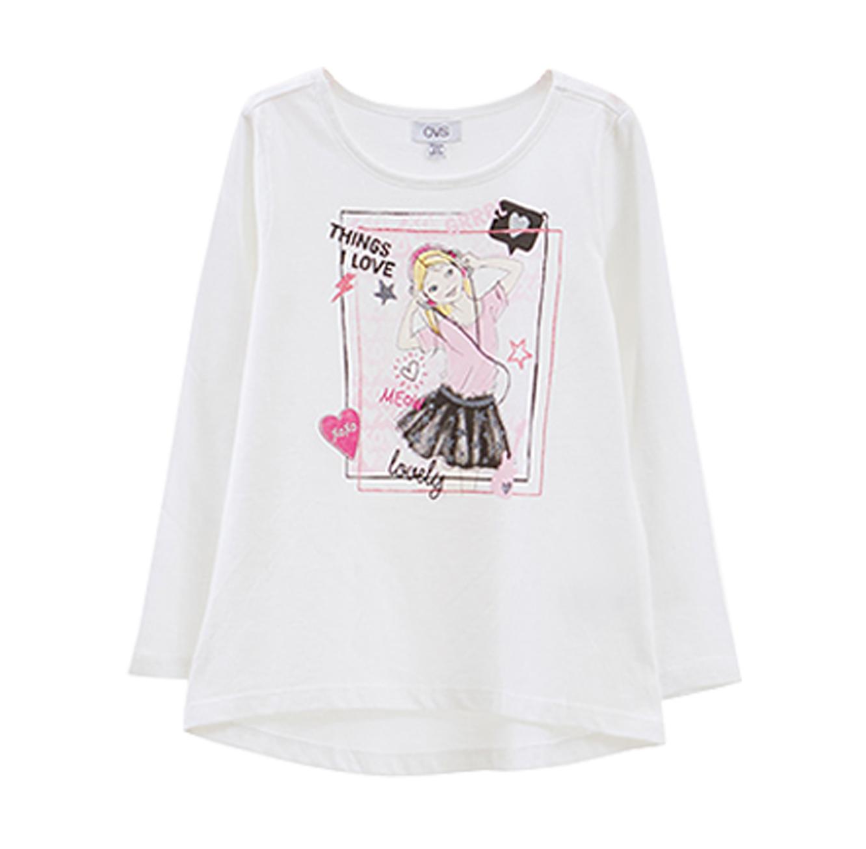 חולצה OVS לילדות עם שרוולים ארוכים - לבן
