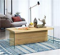 שולחן קפה דגם אסטור בעיצוב המשלב עץ וזכוכית מסדרת אקווה