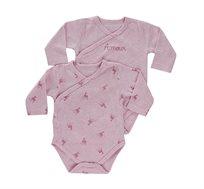 זוג בגדי גוף לתינוקות בצבע ורוד עם טקסט + ורוד במבי מיננה