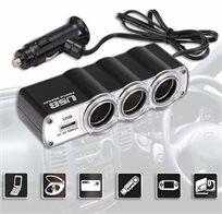 מפצל איכותי לרכב הכולל נורית חיווי וחיבור USB, מתאים לשימוש בו זמני של עד 4 מוצרים!