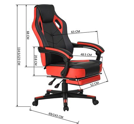 כיסא משרדי מיוחד לחובבי המשחקים לשימוש בבית ובמשרד עם הדום נפתח HOMAX - תמונה 5