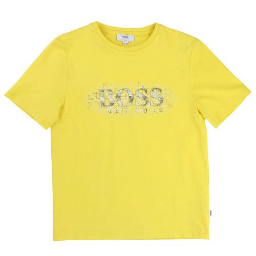 Boss  חולצה (10 שנים) סמל אפליקציה באמצע Slim Fit - צהוב