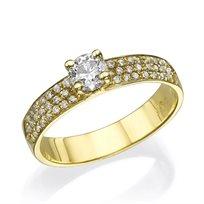 """טבעת יהלומים """"קלואי משובצת"""" 1.01 קראט זהב צהוב"""