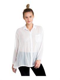 חולצת כפתורים וצאוורון גברית עם שרוול ארוך לנשים בצבע לבן