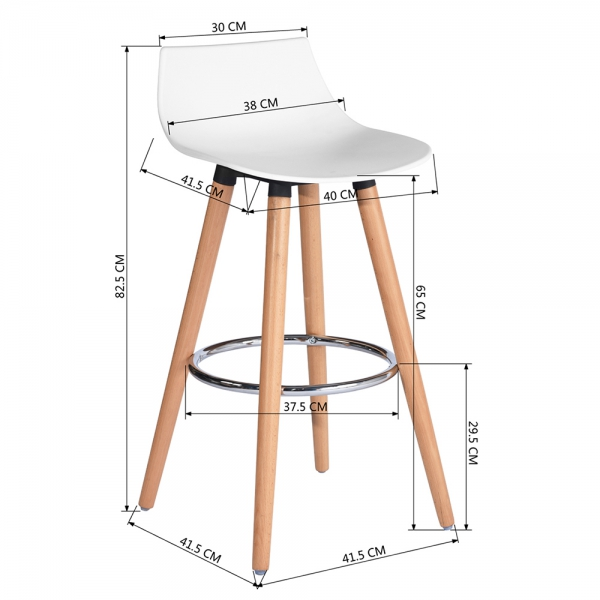 כיסא בר דגם לילי בצבעים מבריקים לבחירה HOMAX - תמונה 3