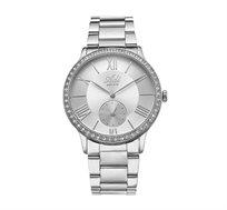 שעון יד מוכסף לאישה עם ספיר קריסטל עמיד במים מבית ADI