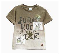 חולצת טי לתינוקות וילדים בצבע חאקי עם הדפס מיקי מאוס ופאצ'ים