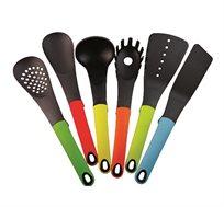 סט כלי ששת 7 חלקים צבעוניים הכולל מתקן פלסטיק מסתובב לאיחסון Planero