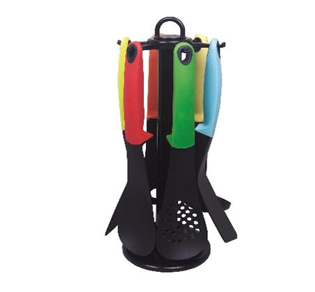 סט כלי ששת 7 חלקים צבעוניים הכולל מתקן פלסטיק מסתובב לאיחסון Planero - משלוח חינם - תמונה 2