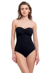בגד ים שלם סטרפלס עם חזייה מסתובבת TURKIZ בצבע שחור