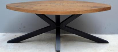 שולחן עץ אובלי יוקרתי בעל רגליים ברזל מעוצבות גוון שחור