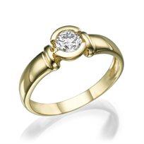 """טבעת אירוסין זהב צהוב """"סטייסי"""" 0.41 קראט F/SI1"""