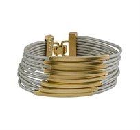 צמיד צינורות מלבנים בציפוי זהב 24 קראט עם עור אפור