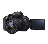 """מצלמת CANON EOS 700D עם צג מגע מתכוונן """"3, וידיאו FULL HD כולל עדשה STM 18-55 ו-55-250 STM"""