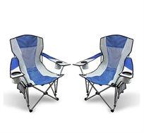 זוג כסאות קמפינג מתקפלים NATURE עם שני כיסים לכוסות ובקבוקים