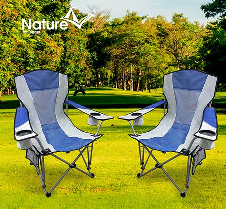 זוג כסאות קמפינג מתקפלים NATURE עם שני כיסים לכוסות ובקבוקים  - משלוח חינם - תמונה 3