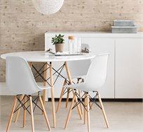 פינת אוכל עגולה מעץ כולל 4 כסאות בעיצוב מודרני בגוונים שונים
